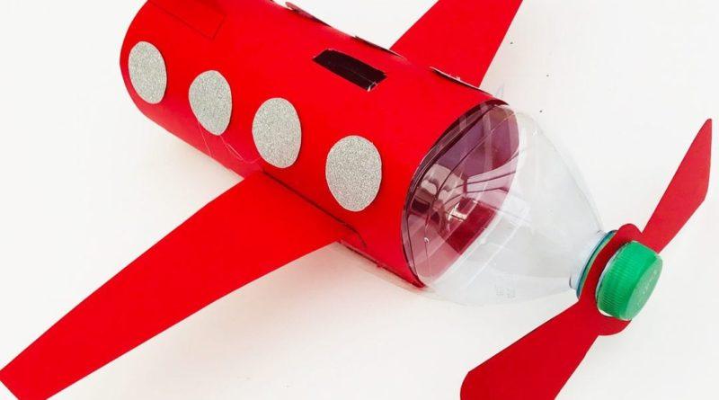 کاردستی کودک قلک هواپیما با بطری